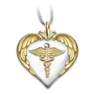 Nurse's Serenity Prayer Diamond Pendant Necklace by