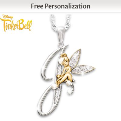 Crystal Pendant Of Your Initial And Tinker Bell by