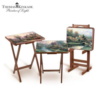 Thomas Kinkade Art Tray Tables With Storage Stand by