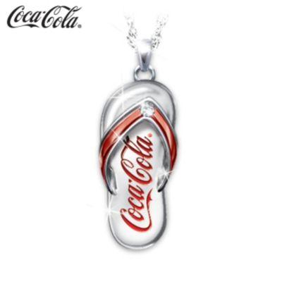 Coca-Cola Engraved Diamond Flip-Flop Pendant Necklace by