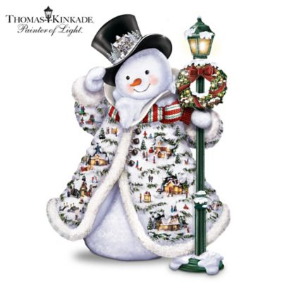 Illuminated Thomas Kinkade Snowman With Faux Fur by