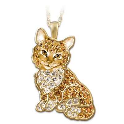 Solid Sterling Silver Cat Pendant With Swarovski Crystals by