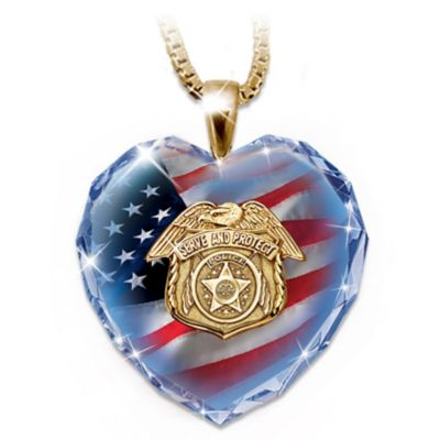 Police Tribute Faceted Crystal Heart With 24K-Gold Plating by