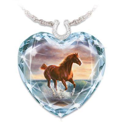 Chuck DeHaan Crystal Horse Art Swarovski Crystal Pendant by