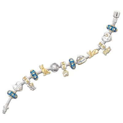Cat Lover's 24K Gold-Plated Charm Bracelet With Crystals by