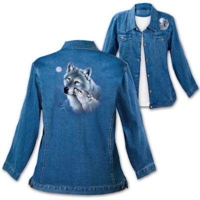 Eddie LePage Wolf Art Stone-Washed Denim Women's Jacket by