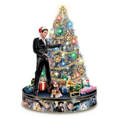 Elvis Illuminated Musical Christmas Tree With TCB Topper by