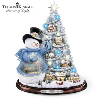Thomas Kinkade Pre-Lit Tree And Snowman Tabletop Decor by