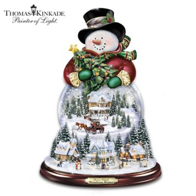 Thomas Kinkade Musical Snowman Snowglobe With Lights, Snow by
