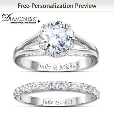 diamonesk personalized bridal ring set - Personalized Wedding Rings