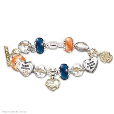 Denver Broncos Charm Bracelet With Swarovski Crystals by
