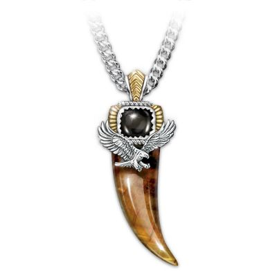 Tiger's Eye And Black Onyx Eagle Talon Pendant Necklace by