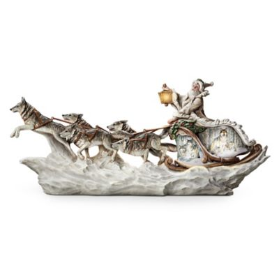 Illuminated Santa's White Wolf Sleigh With Art By Al Agnew by
