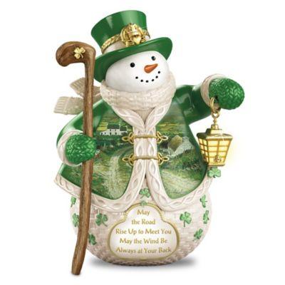 Edmund Sullivan Irish Art Snowman With Illuminated Lantern by