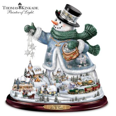 Thomas Kinkade Snowman With Lights, Animated Train, Music by
