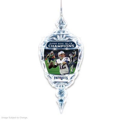 New England Patriots Super Bowl XLIX Champs Crystal Ornament by