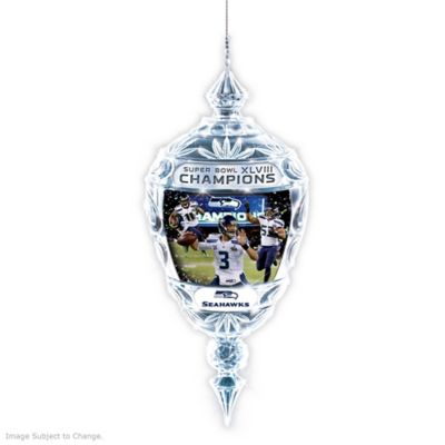 Seattle Seahawks Super Bowl XLVIII Champs Crystal Ornament by