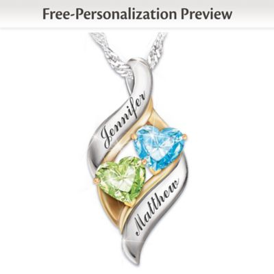 Personalized Birthstone Pendant With Heart-Shaped Stones by