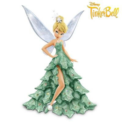 Disney Tinker Bell Figurine In Sparkling Christmas Tree Gown by