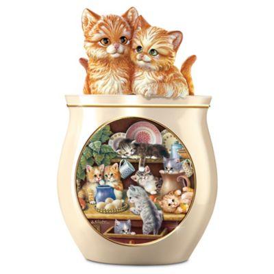 Jürgen Scholz Kitten Art Ceramic Cookie Jar by