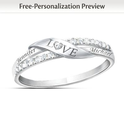 Romantic Personalized 11-Diamond Engraved Ring by