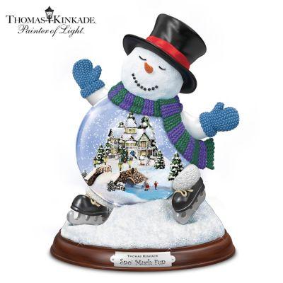 Thomas Kinkade Sculpted Village Inside A Snowman Snowglobe by