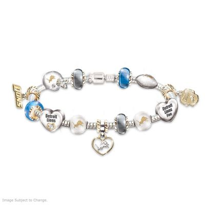 Detroit Lions Charm Bracelet With Swarovski Crystals by