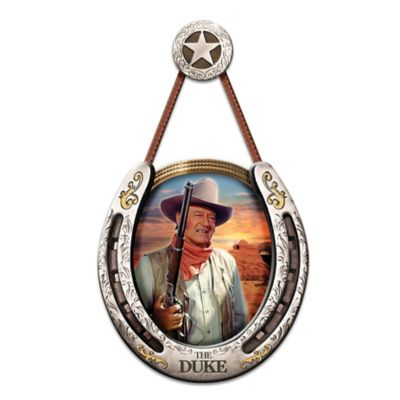 The Duke Portrait In Nickel Finish Horseshoe Wall Sculpture by