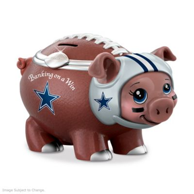 Dallas Cowboys Porcelain Football Piggy Bank by