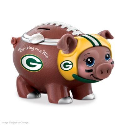 Green Bay Packers Porcelain Football Piggy Bank by