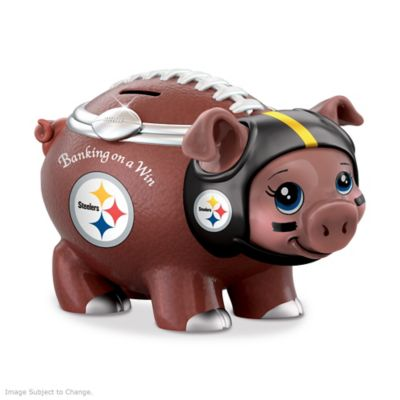 Pittsburgh Steelers Porcelain Football Piggy Bank by