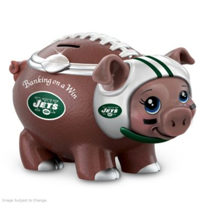 New York Jets Porcelain Football Piggy Bank by