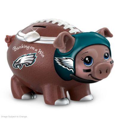 Philadelphia Eagles Porcelain Football Piggy Bank by