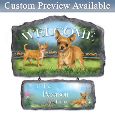 Linda Picken Chihuahua Art Personalized Welcome Sign by