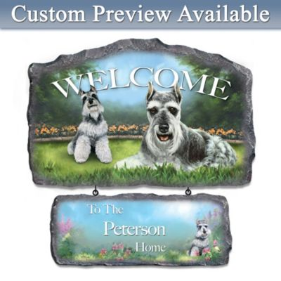 Linda Picken Schnauzer Art Personalized Welcome Sign by