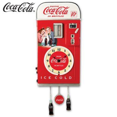 COCA-COLA 1950s-Style Vending Machine Illuminated Wall Clock by