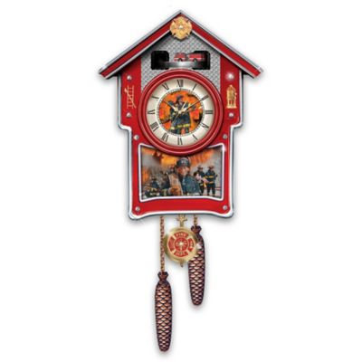 Firefighters Wall Clock With Emblems, Sirens And Motion by