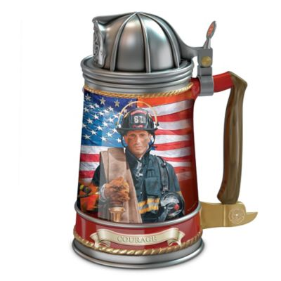 Firefighter Stoneware Collector Stein With Glen Green Art by