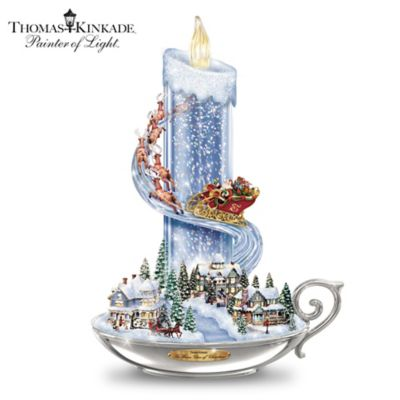 Thomas Kinkade Candle Lights With Music And Floating Glitter by