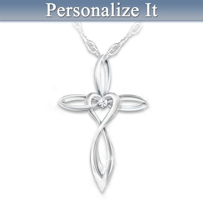 Diamond Cross Pendant For Daughter With Name-Engraved Charm by