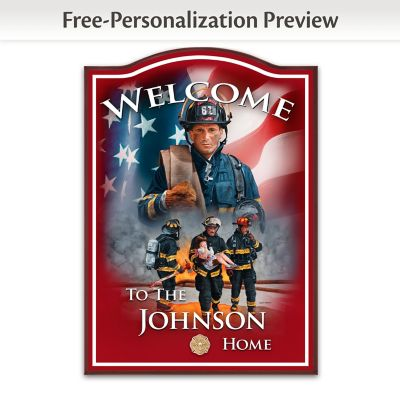 Firefighter Wooden Welcome Sign Personalized With Name by