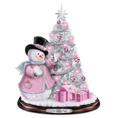 Breast Cancer Awareness Snowman And Pre-Lit Christmas Tree by
