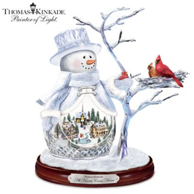 Thomas Kinkade All Hearts Come Home Musical Crystal Snowman by