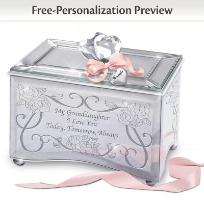 Personalized Mirrored Glass Music Box For Granddaughters by