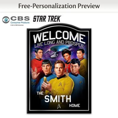 STAR TREK Wooden Welcome Sign Personalized With Name by