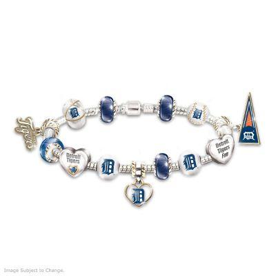 Detroit Tigers Charm Bracelet With Swarovski Crystal by