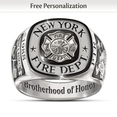 Firefighters Tribute Customized Stainless Steel Men's Ring by