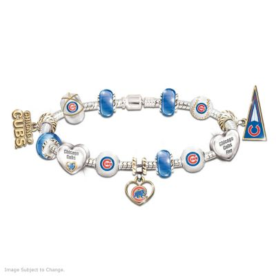 Chicago Cubs Charm Bracelet With Swarovski Crystal by