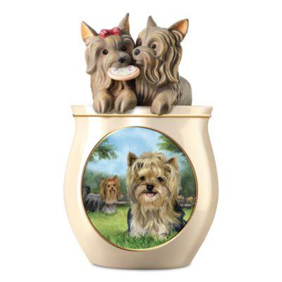 Linda Picken Yorkie Art Ceramic Cookie Jar With Sculpted Lid by