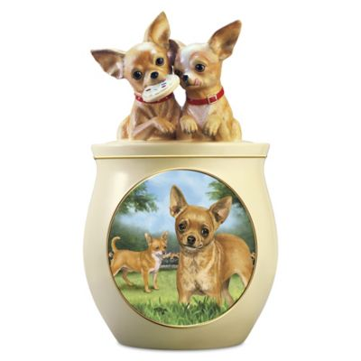 Linda Picken Chihuahua Art Ceramic Cookie Jar, Sculpted Lid by